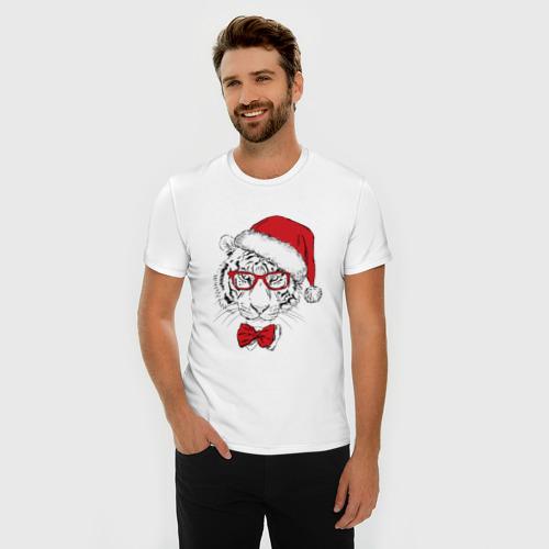 Мужская футболка премиум  Фото 03, Тигр Санта Клаус