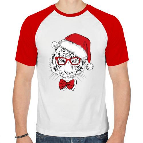 Мужская футболка реглан  Фото 01, Тигр Санта Клаус