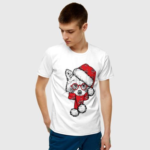 Мужская футболка хлопок Енот Санта Фото 01