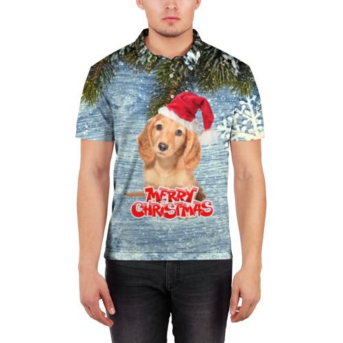 Мужская рубашка поло 3D  Фото 03, Merry christmas