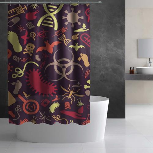 Штора 3D для ванной  Фото 03, Био pattern
