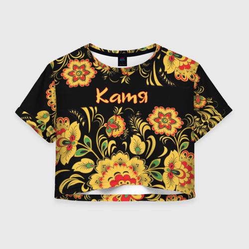 Женская футболка Crop-top 3D Катя, роспись под хохлому Фото 01