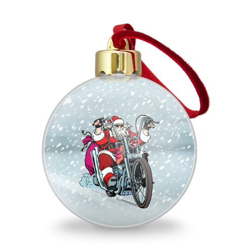 Ёлочный шар с блестками  Фото 01, Санта Клаус байкер