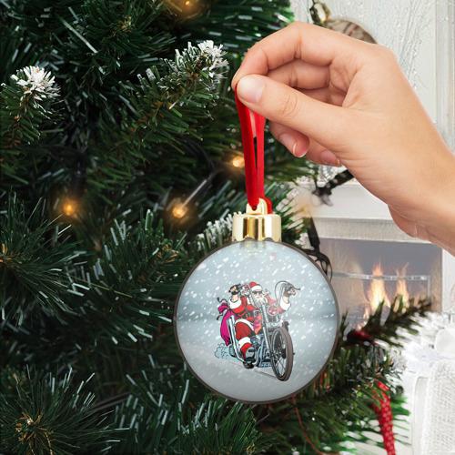 Ёлочный шар с блестками  Фото 04, Санта Клаус байкер