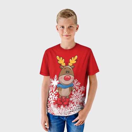 Детская футболка 3D Олень в шарфике Фото 01