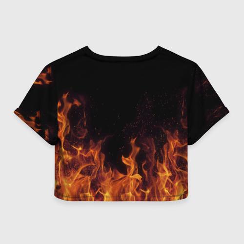 Женская футболка 3D укороченная  Фото 02, Люда огонь баба