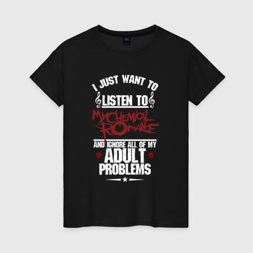 Женская футболка хлопок Я прост хочу слушать MCR Фото 01