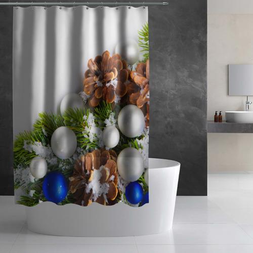 Штора 3D для ванной  Фото 03, Новый год