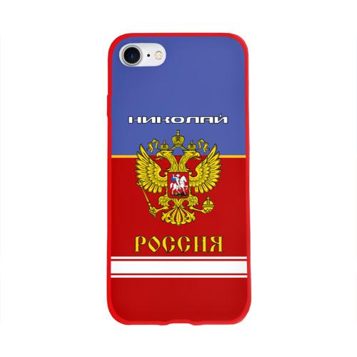 Чехол для Apple iPhone 8 силиконовый глянцевый Хоккеист Николай