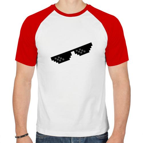 Мужская футболка реглан  Фото 01, Пиксельные очки