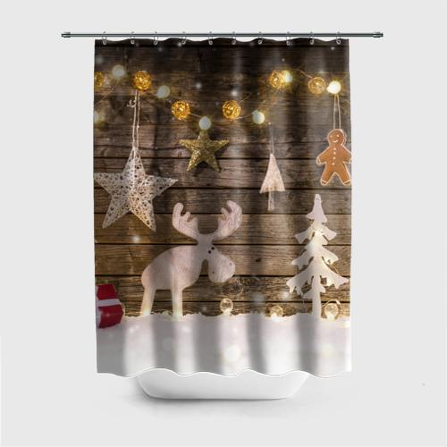 Штора 3D для ванной  Фото 01, В гостях у Деда Мороза