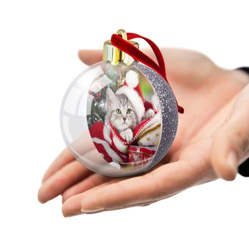 Ёлочный шар с блестками  Фото 03, Новогодний котик