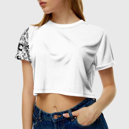 Женская футболка 3D укороченная Ahegao