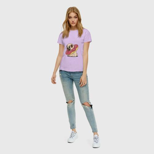 Женская футболка хлопок Мопс пончик Фото 01