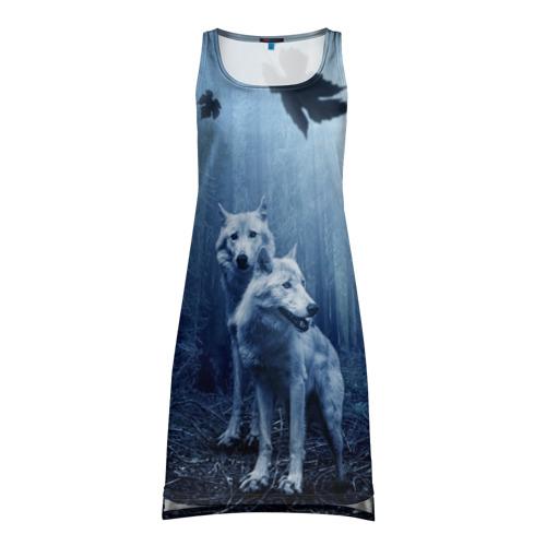Платье-майка 3D White wolves