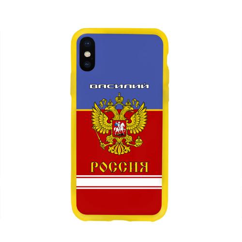 Чехол для Apple iPhone X силиконовый глянцевый Хоккеист Василий