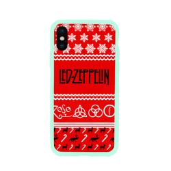 Чехол для Apple iPhone X силиконовый глянцевыйПраздничный Led Zeppelin