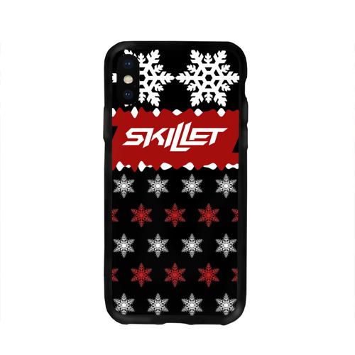Чехол для Apple iPhone X силиконовый глянцевый Праздничный Skillet