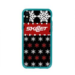 Чехол для Apple iPhone X силиконовый глянцевыйПраздничный Skillet