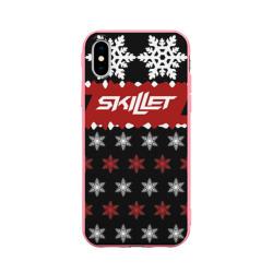 Чехол для Apple iPhone X силиконовый матовыйПраздничный Skillet