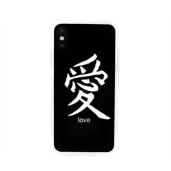 Чехол для Apple iPhone X силиконовый глянцевыйsymbol Love