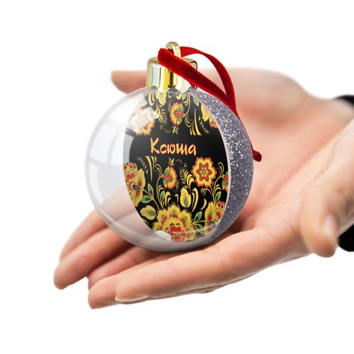 Ёлочный шар с блестками  Фото 03, Ксюша, роспись под хохлому
