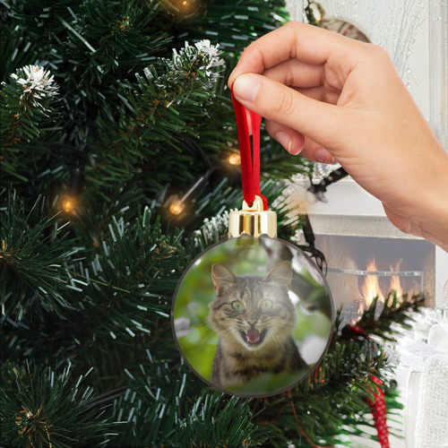 Ёлочный шар с блестками  Фото 04, Кот на дереве