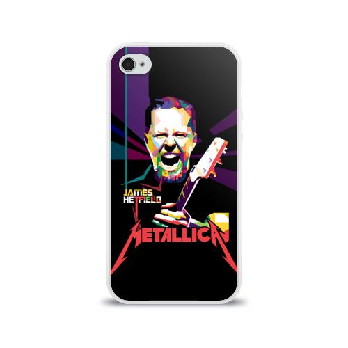 Чехол для Apple iPhone 4/4S силиконовый глянцевый  Фото 01, Metallica James Alan Hatfield