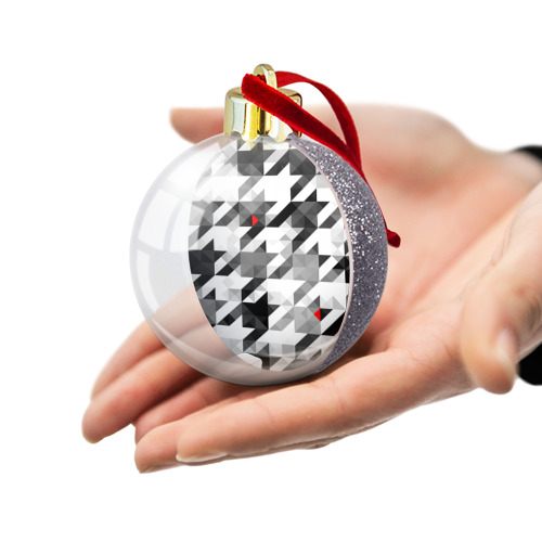 Ёлочный шар с блестками  Фото 03, gray geometry collection