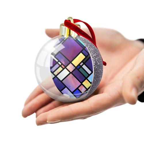 Ёлочный шар с блестками  Фото 03, Линии и стекло