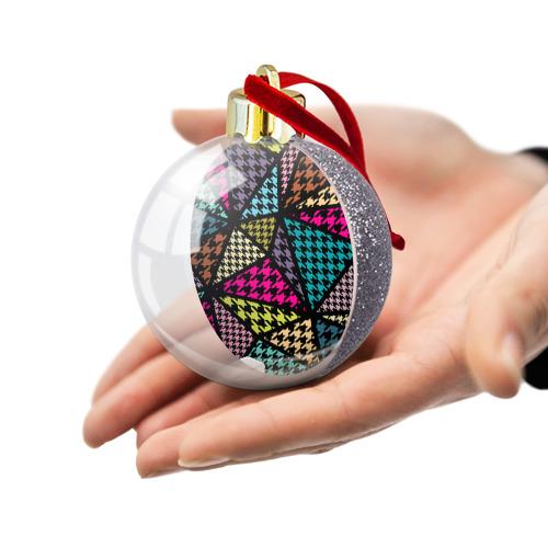 Ёлочный шар с блестками  Фото 03, Цветная геометрия