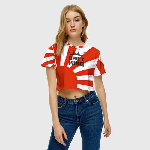 Женская футболка 3D укороченная  Фото 04, Король дрифта