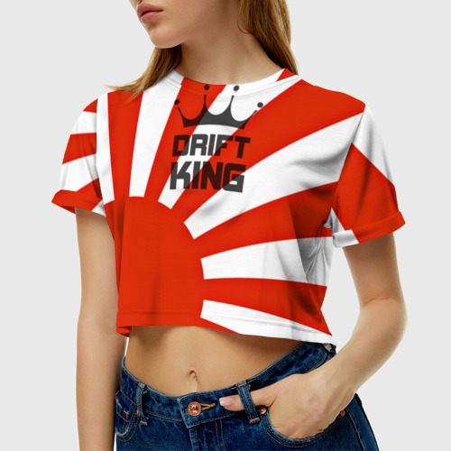 Женская футболка 3D укороченная  Фото 01, Король дрифта