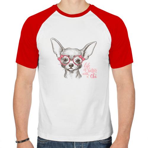 Мужская футболка реглан  Фото 01, Чихуахуа в розовых очках