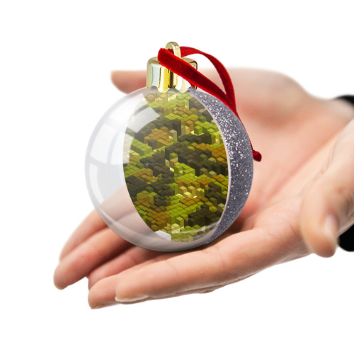 Ёлочный шар с блестками  Фото 03, Кубики милитари