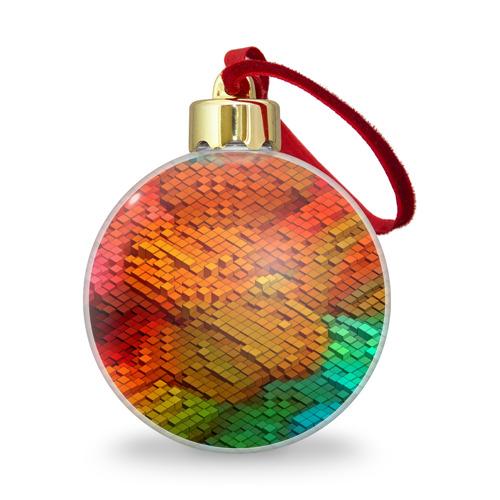 Ёлочный шар с блестками  Фото 01, Абстракция кубическая