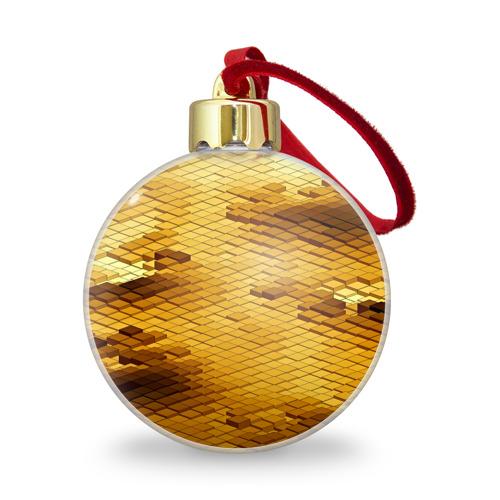 Ёлочный шар с блестками  Фото 01, gold bricks