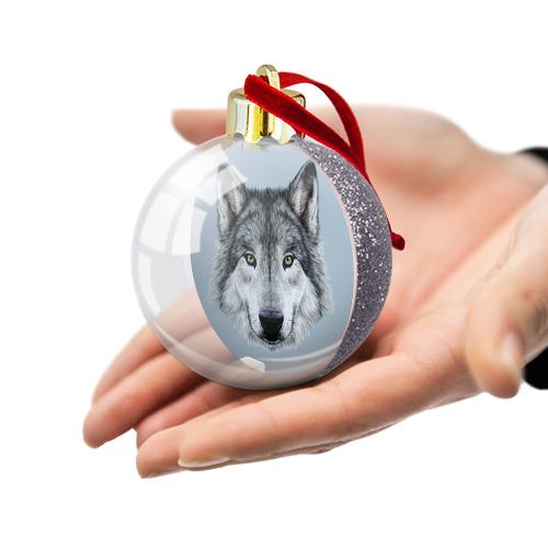Ёлочный шар с блестками  Фото 03, Волк