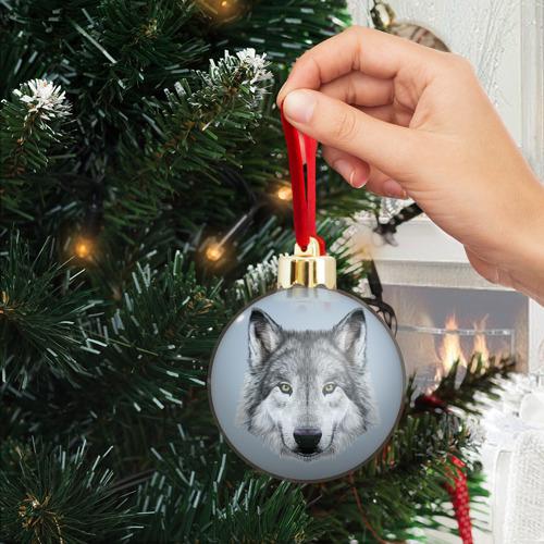 Ёлочный шар с блестками  Фото 04, Волк