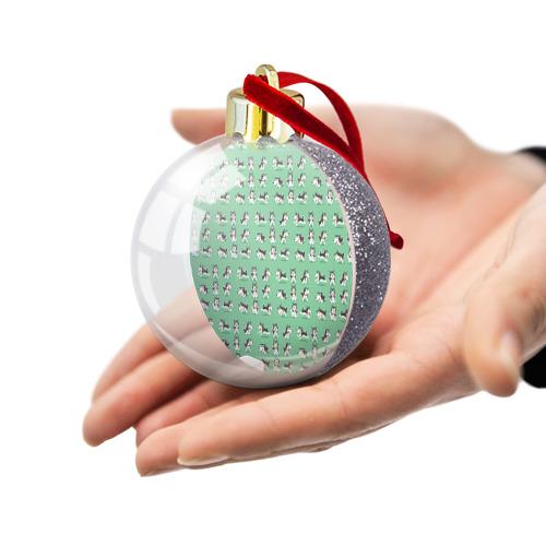 Ёлочный шар с блестками  Фото 03, Веселые хаски