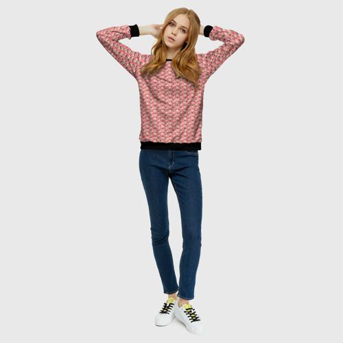 Женский свитшот 3D Мопсики на розовом