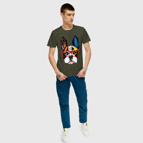 Мужская футболка хлопок Лоскутный бульдог Фото 01