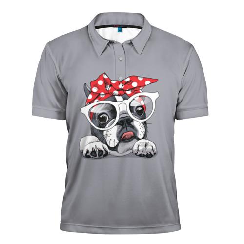 Мужская рубашка поло 3D  Фото 01, Бульдог в очках_2