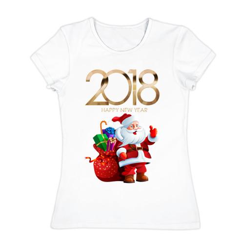 "Женская футболка хлопок  Фото 01, Санта \""2018\"""