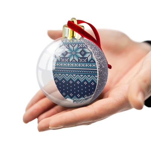 Ёлочный шар с блестками  Фото 03, Вязаный орнамент