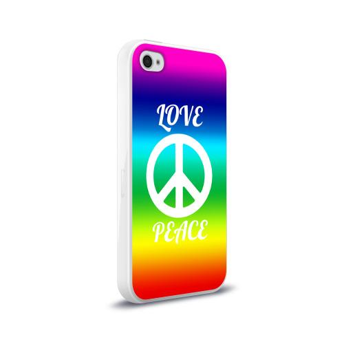 Чехол для Apple iPhone 4/4S силиконовый глянцевый Love and Peace Фото 01