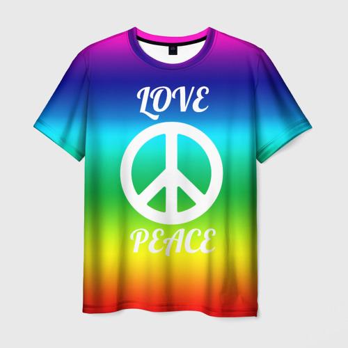 Мужская футболка 3D Love and Peace