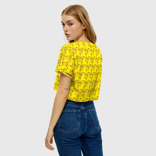 Женская футболка Crop-top 3D Пикачу бомбинг Фото 01