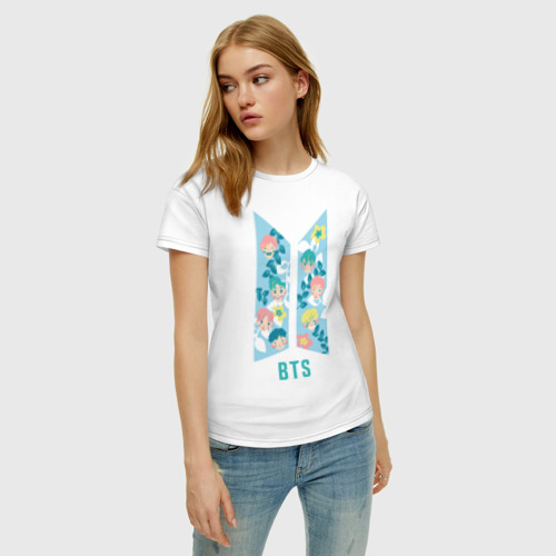 Женская футболка хлопок BTS army color Фото 01