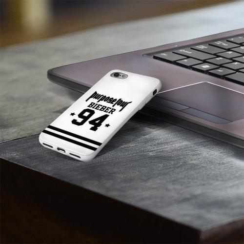 Чехол для Apple iPhone 8 силиконовый глянцевый  Фото 03, Bieber Team White